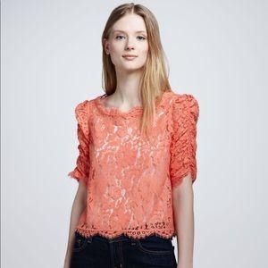 Joie Fanny Lace Top Orange Lace Blouse Sz S